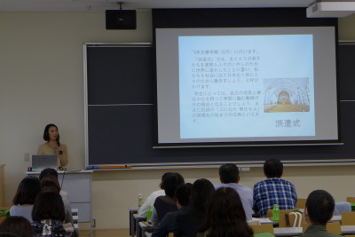 青木教務主任による教務・学生生活に関する説明